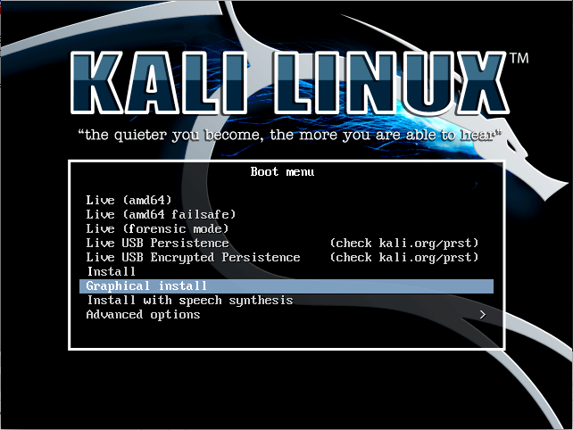 Kali Linux install-select