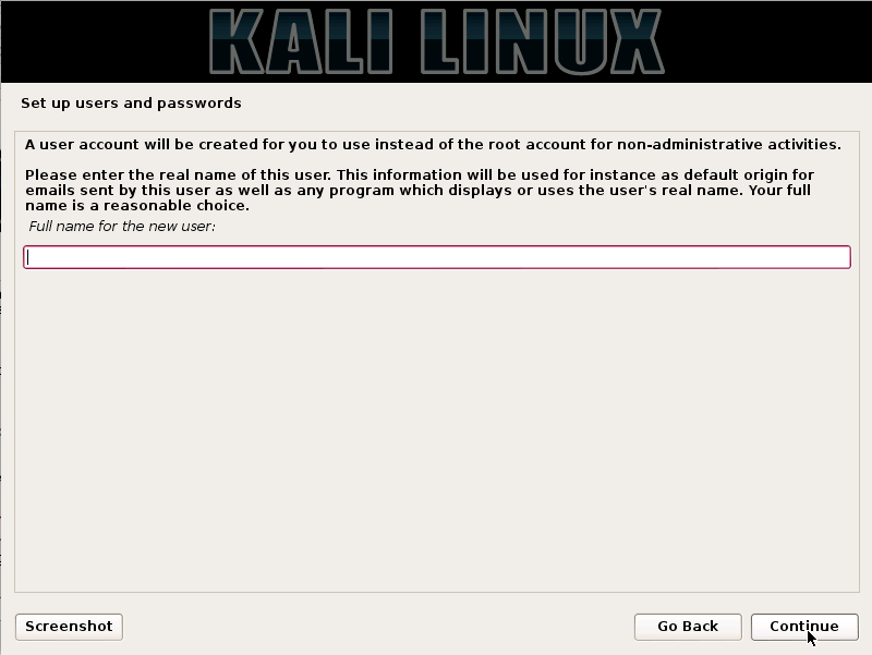 Kali Linux user