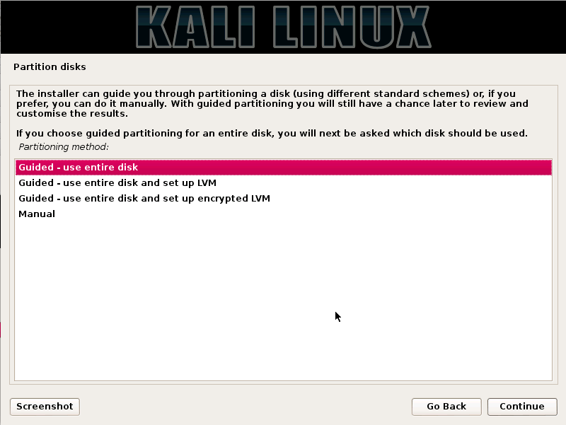 Kali Linux partitionmethod