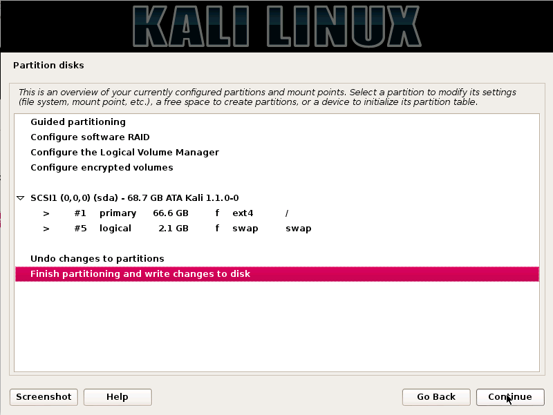 Kali Linux finish-partitioning